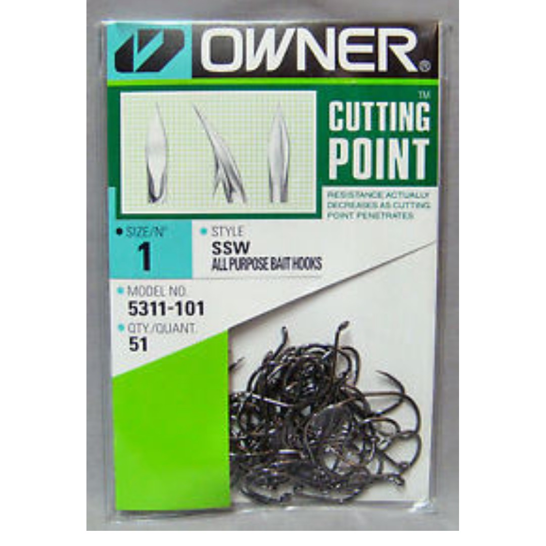 Owner Hooks Cutting Point Size 1 Bulk Pack