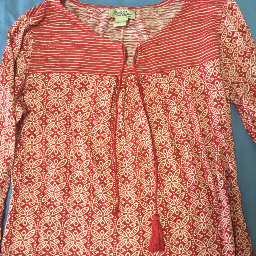 Red floral stripes blouse