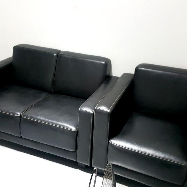Sofa Hitam 3 Seats Untuk Ruang Tamu Ruang Keluarga Home