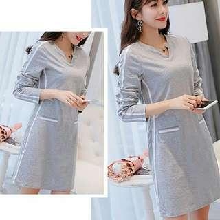 Litizia Sweat Shirt Full Over Inspired Dress Gray
