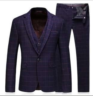 Men jacket +vest +pants 3pc suit