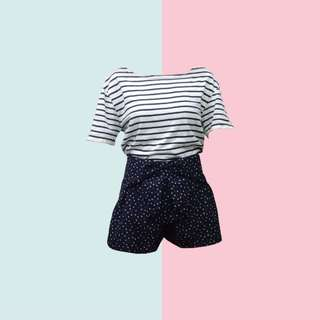 BUNDLE: 1👚1👖 ✅Blue and White Stripes Loose Shirt ✅HW Ribbon Shorts (HTP Brand New) ———————— Size: (Top) Up to L (Bottom) M-L Price: P350.00