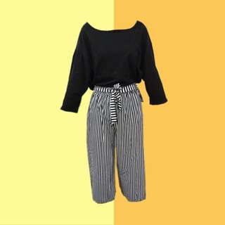 BUNDLE: 1👚1👖 ✅Black Loose Shirt ✅Striped Tie Pants (Brand New) ———————— Size: (Top) Up to L (Bottom) Up to L Price: P300.00