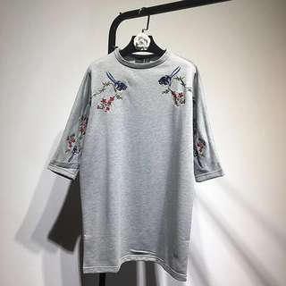 BN Oversize Embroidered Shirt Dress in GREY (UK 6-10)