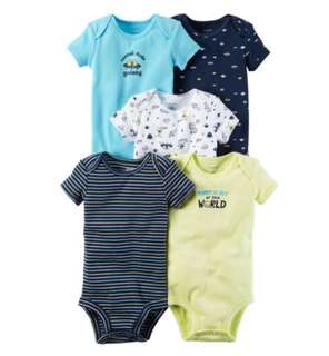 *12M & 18M* BN Carter's 5-Pack Short Sleeve Bodysuits For Baby Boy