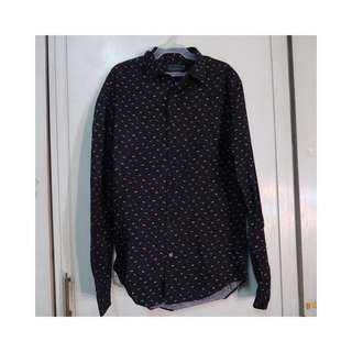Zara Man Black Patterned Long Sleeve Polo