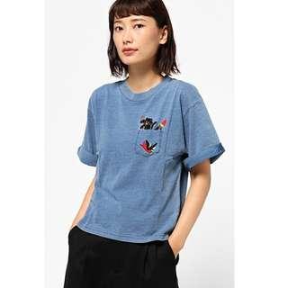 日貨 日牌  RCWB  貓咪口袋刺繡  短袖T恤  藍/灰