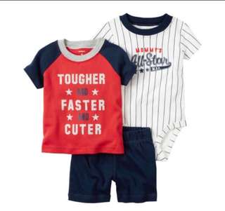 *18M* Brand New Carter's 3 Piece Bodysuit and Shorts Set For Baby Boy