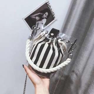 🌸黑白直間透明斜揹袋👜💕