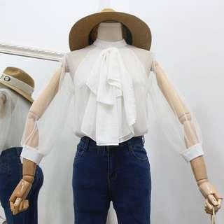 Mesh sleeve blouse