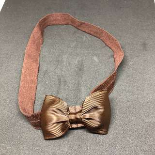 Baby headband bow brown