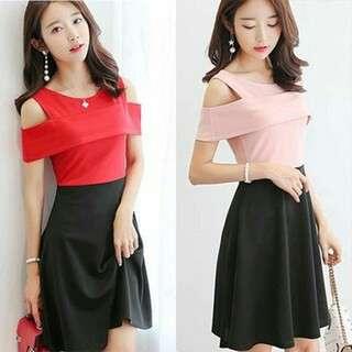 Stylish Two Tone Plain Dress