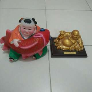 Laughing Buddha and Boy with koi