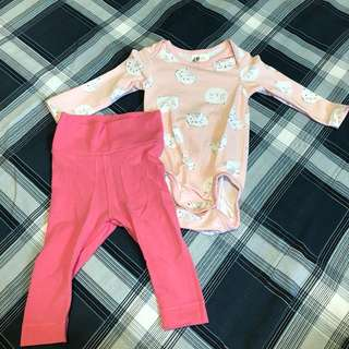 1 set H&M rompers cat pink