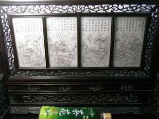 珍藏和闐玉灰白玉大插屏屏風~ 王維孟浩然詩詞