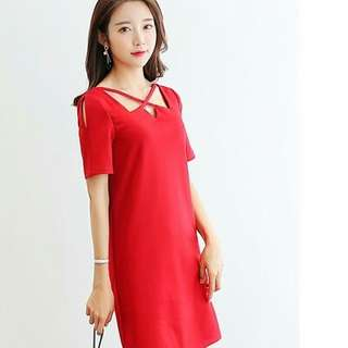 X Neckline Plain Dress