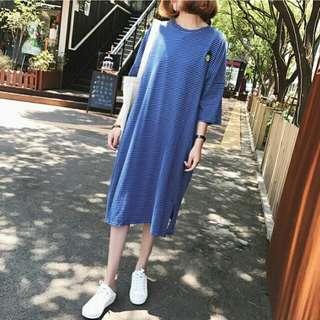 E28282 大碼裝開叉條紋連衣裙(兩色入)