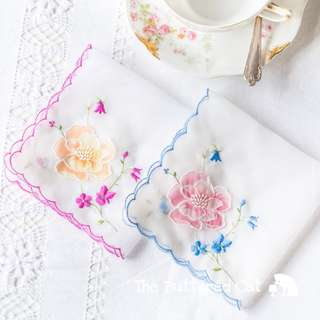 Two vintage floral handkerchiefs, embroidered, appliquéd organza