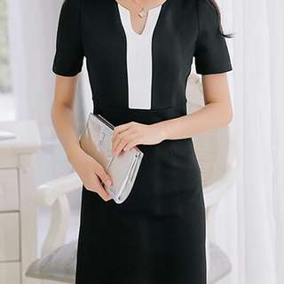 Pattern White Lining Dress Black