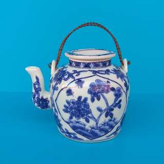 Vintage Chinese Porcelain Blue And White Teapot Hand-painted Flowers And Butterflies In Panel