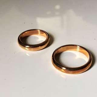 全新玫瑰金結婚戒指