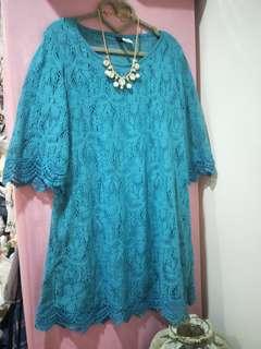 日本購回H&M藍綠色蕾絲洋裝