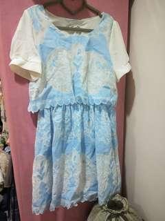 法國購入水藍蕾絲雕花洋裝