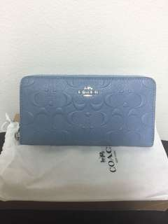 Coach Signature Embossed Accordion Zipper Wallet (Light Blue)