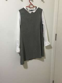 Korean Style Long Sleeves grey dress