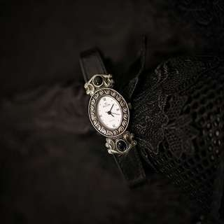 古董Elgin銀黑色維多利亞設計手錶 Antique Elgin silvertone Victorian watch