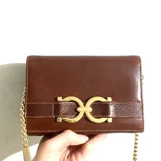 中古Ferragamo vintage crossbody chain bag clutch 長鏈袋
