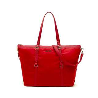 Mango Touch Large Nylon Shopping Tote Bag RED