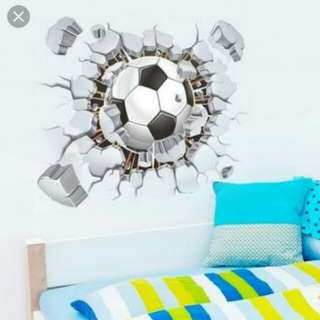Wall sticker 3D soccer football carcked