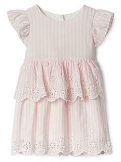 🚚 現貨 GAP 飛袖雙層蛋糕雕花設計上衣洋裝