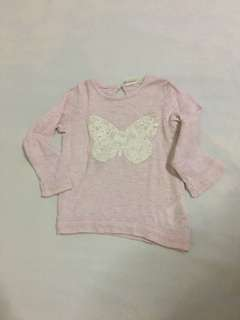 HnM Long sleeves pink butterfly