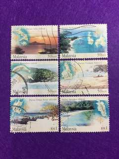 2002 Islands & Beaches 6 Values Used Complete Set