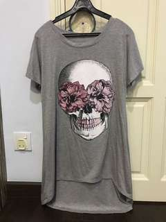 grey skull hi low tee dress