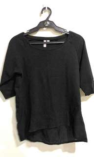 Black top with mesh sleeves & back.