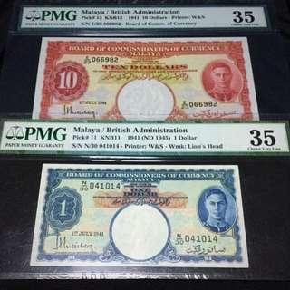 1941 British Admin $10 & $1