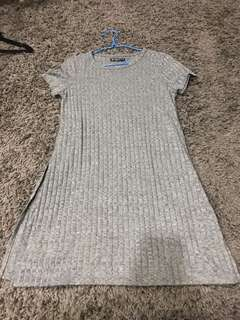 co grey side slit ribbed tee dress
