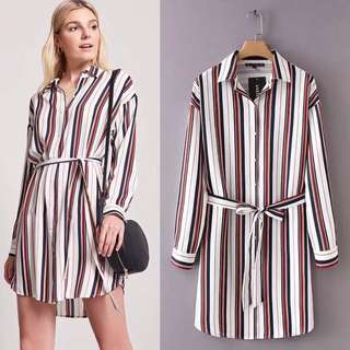 2018 European Station Striped Lapel Long Sleeve Shirt Dress