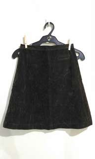 Dark green suede hw skirt