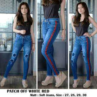 Celana Jeans Patch OW red jeans off white jeans lipat off white list samping