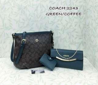 Coach Handbag 3 in 1 Green Coffee Color