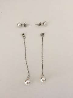 silver long pearl earrings