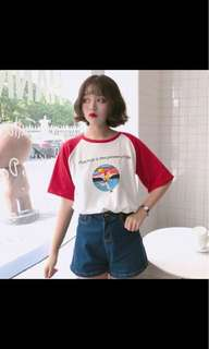 Summer New Character Letter Printed Cute Loose Causal All Match Short Sleeve Female T-shirts