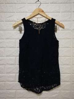 Laced casual or formal top dark blue