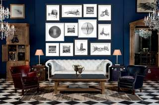 2.5m (W) X 2m (H) Fisheye + Vintage Cars + World Attractions Wall Art/ Feature Wall (Silver/Black Frame)