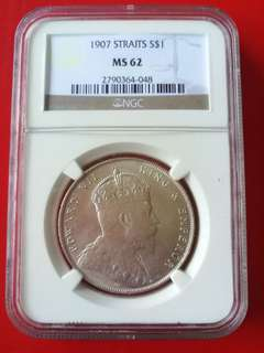 Straits settlement $1 1907, NGC graded MS 62