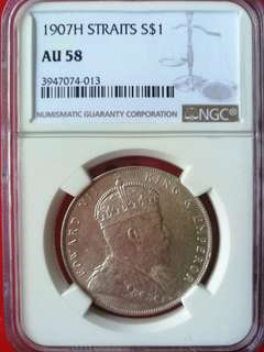 Straits settlement $1 1907B, NGC graded AU 58